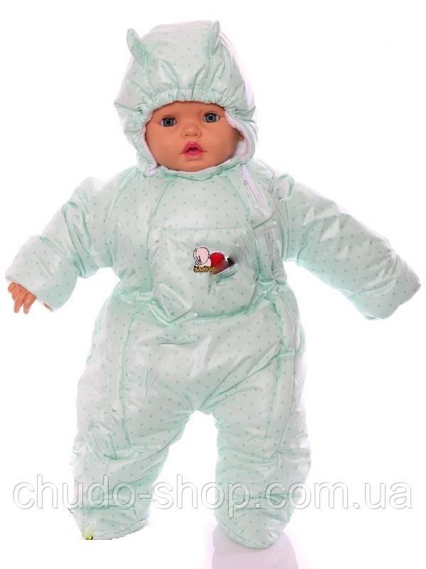Демисезонный комбинезон для новорожденного (0-6 месяцев) Мятный горошек