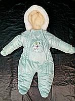 Зимний комбинезон для новорожденных (0-6 месяцев) зеленый в горошек, фото 2