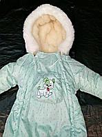 Зимний комбинезон для новорожденных (0-6 месяцев) зеленый в горошек, фото 3