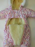Зимний комбинезон для новорожденных (0-6 месяцев) розовые пуговички, фото 2
