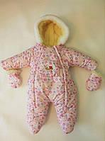 Зимний комбинезон для новорожденных (0-6 месяцев) розовые пуговички, фото 3