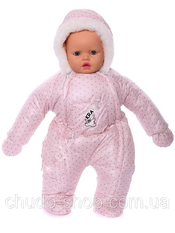 Зимний комбинезон для новорожденных (0-6 месяцев) розовый в горошек