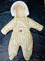 Зимний комбинезон для новорожденных (0-6 месяцев) желтые сердечки, фото 2