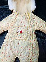 Зимний комбинезон для новорожденных (0-6 месяцев) желтые сердечки, фото 3
