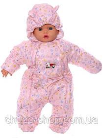 Демисезонный комбинезон для новорожденного (0-6 месяцев) Розовые пуговички