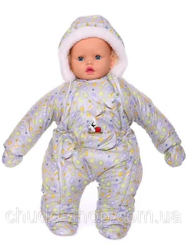 Зимний комбинезон для новорожденных (0-6 месяцев) серые пуговички