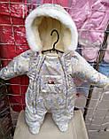 Зимний комбинезон для новорожденных (0-6 месяцев) серые пуговички, фото 3