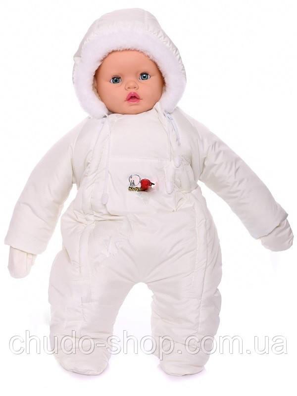 Зимний комбинезон для новорожденных (0-6 месяцев) молочный