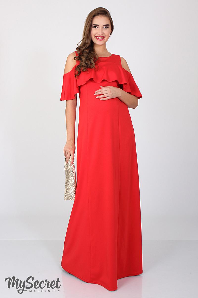 Платье в пол для беременных и кормления Delicate, алое