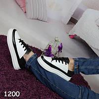 Криперы женские на высокой платформе мягкие, бело-черные, женская спортивная обувь