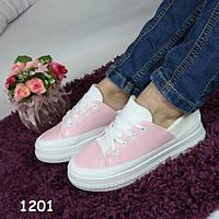Криперы женские на высокой платформе мягкие, розовый+белый, женская спортивная обувь