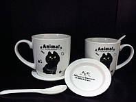 """Подарочный набор чашек для двоих """"Черный кот с рыбкой"""""""
