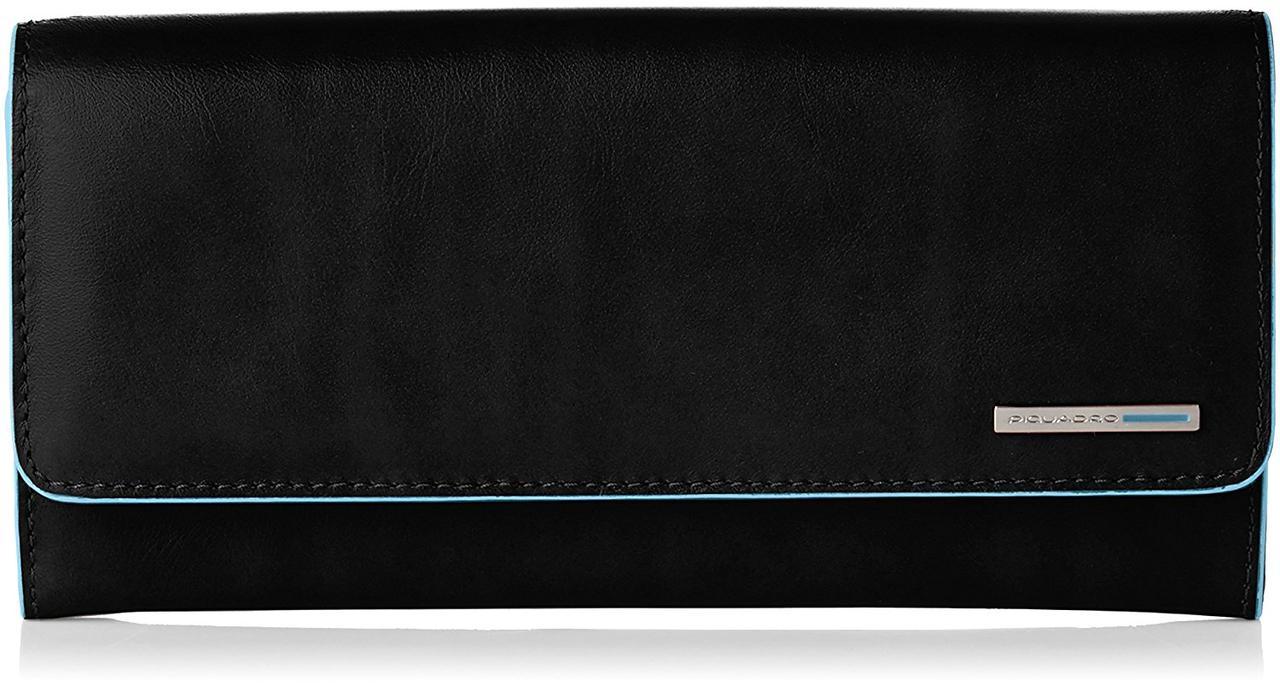 Стильный женский кошелек Piquadro вертикальный со съемным отделом на молнии (19,5x10x3,5) PD3889B2_N черный