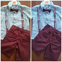 Детский костюм для мальчика 64- с рубашкой в клетку + шорты