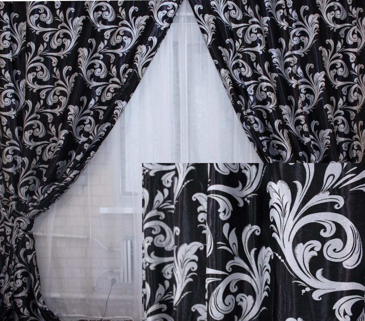 """Комплект готовых штор  блэкаут, """"Лилия"""". Цвет черный 140ш (А)"""