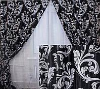 """Комплект готовых штор  блэкаут, """"Лилия"""". Цвет черный 140ш (А), фото 1"""
