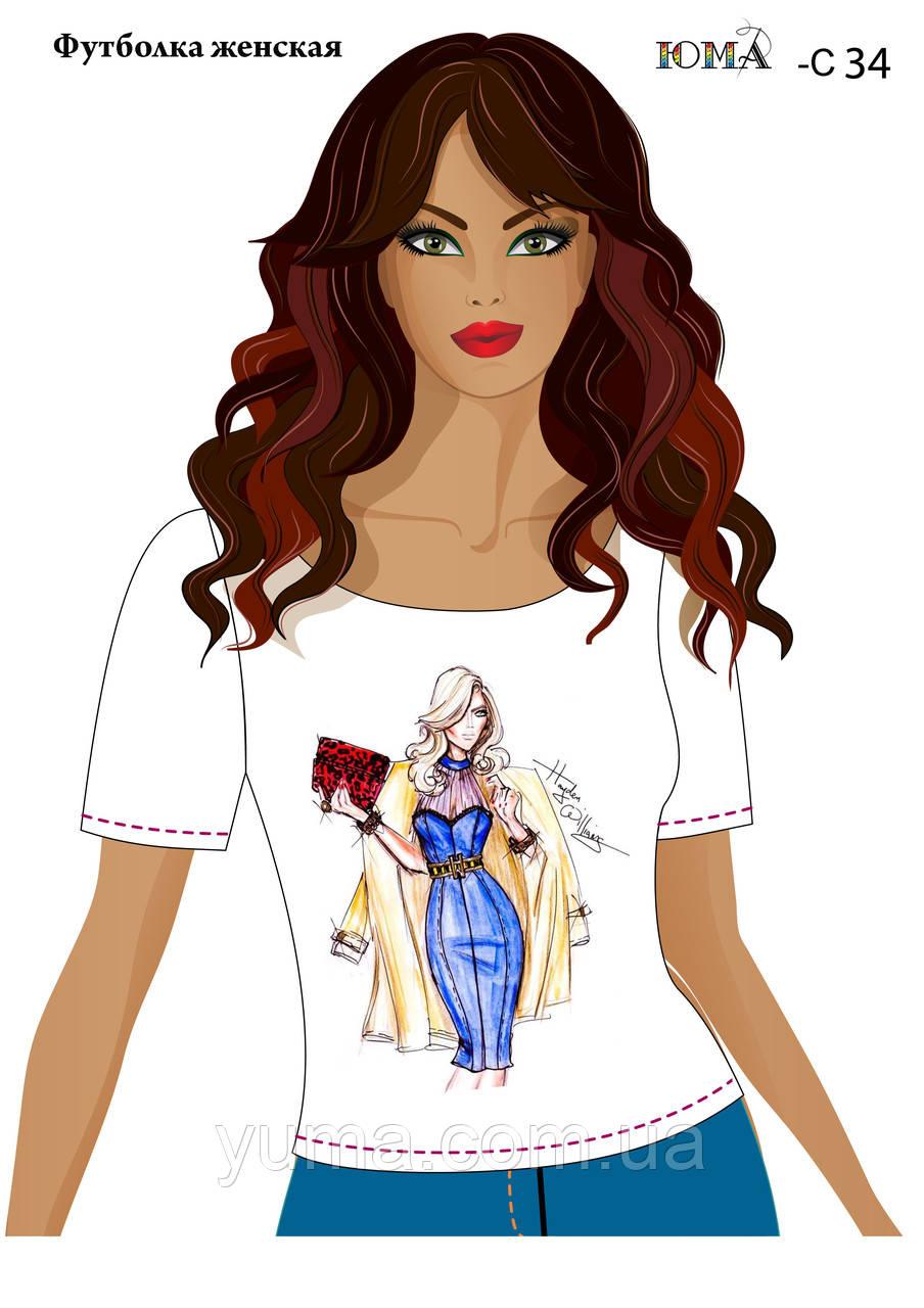 """Женская футболка c рисунком """"Дама в синем''"""