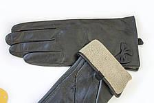 Женские кожаные перчатки ВЯЗКА СЕНСОРНЫЕ Большие 2-340, фото 3