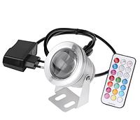 Мультицветной линзовый прожектор с блоком питания и пультом управления LED RGB IP67 10W 220V