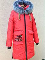 Зимнее удлиненное пальто с капюшоном