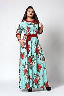 Модное летнее платье в пол с красивым  принтом бирюзового цвета размеры 52,54, 56