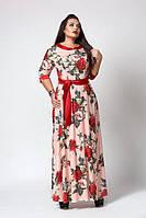 Женское длинное платье под поясок с цветочным  принтом цвета пудра размеры 52,54, 56