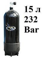 Баллон для дайвинга AquaLung (производитель Faber); 15 литров; 232 Bar; чёрный