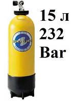 Баллоны для дайвинга AquaLung (производитель Faber); 15 литров; 232 Bar; жёлтый