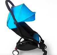 Детская коляска YOYA 175 Blue, 3 ярусный капор, легкая, складная, компактная Йойа голубая