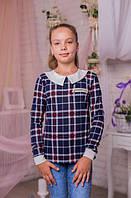 Красивая трикотажная кофта для девочки в клеточку 128-146