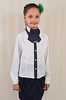 Красивая школьная блуза с галстуком-бантом для девочки в школу