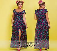 Легкое летнее платье из штапеля большого размера ( р 48-54 )