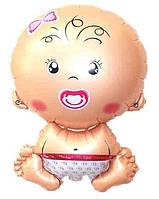 """Куля фольгована фігурна """"Пупсик дівчинка"""" Розмір 65 см"""