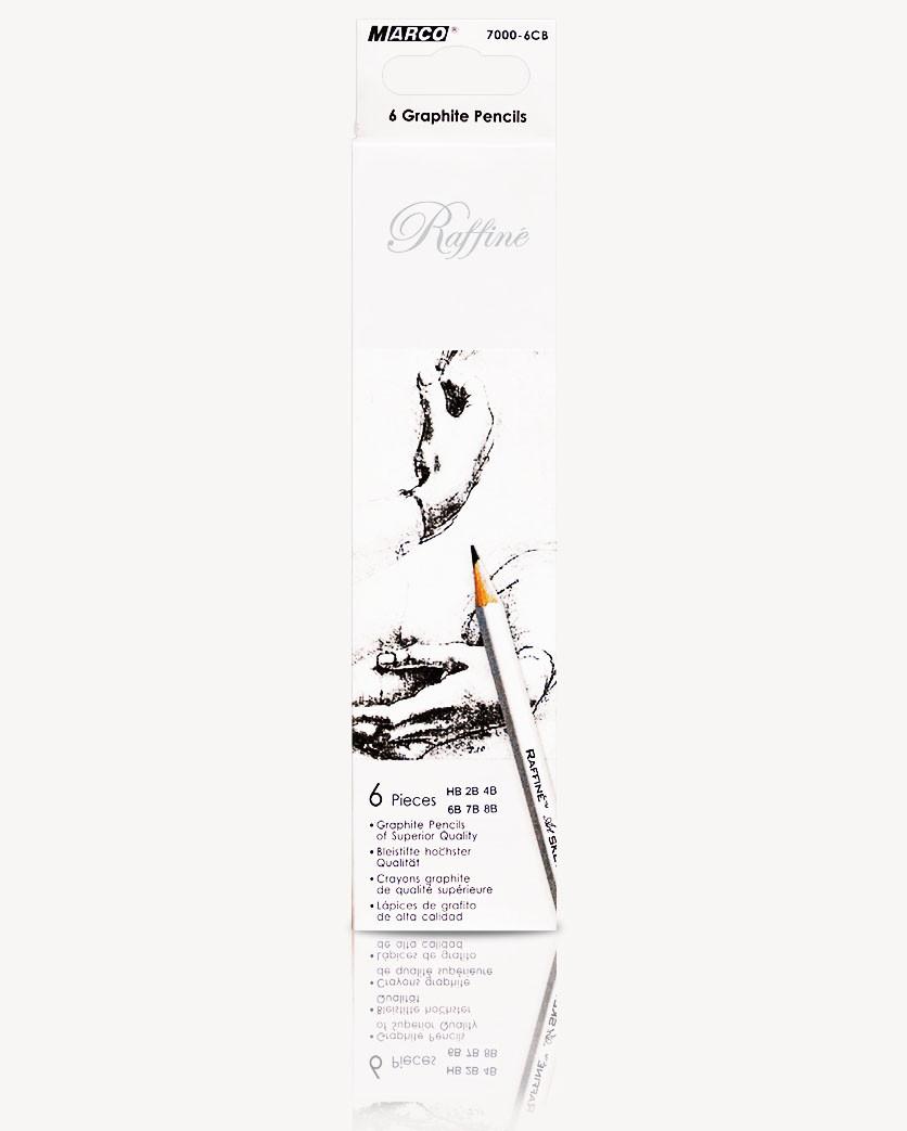 """Карандаши простые чертежные (набор 6шт) MARCO 7000-6 6шт серия """"Raffine"""" проффесионал.разной мягкости"""