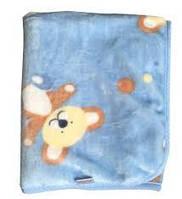 Детский плед подушка Twins велюр Мишки 120*95, голубой
