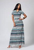 Яркое  летнее длинное платье бирюзовую полоску