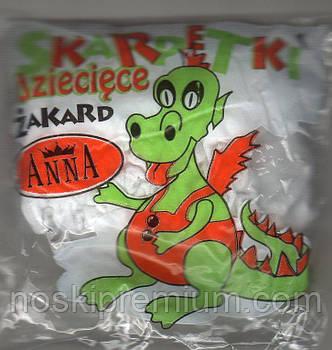 Носки белые капрон жакард Anna, Польша 0122
