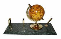 """Подставка для ручки и визитницы с глобусом настольная из зеленого мрамора """"Премьер"""" 1819"""