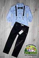 Стильная рубашка с подтяжками и брюки для мальчика