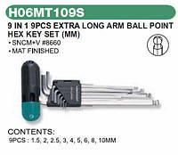 Комплект угловых шестиграников  LONG с шаром и ручкой 2,5-10мм, 9 пр. S2 мат. H06MT109S Jonnesway