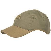 Тактическая бейсболка Helikon-Tex® Logo Cap - PolyCotton Ripstop - Adaptive Green/Койот