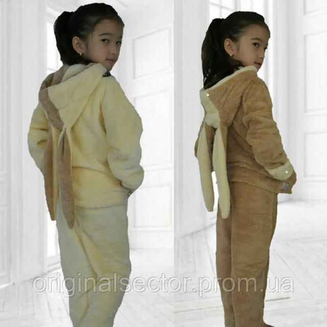 теплая детская пижама зайка