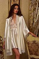 Атласный халат с пеньюаром для невесты Айвори Шанталь