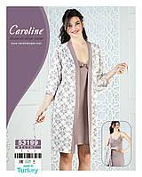 """Стильный комплект для сна """"Caroline"""", Турция,ночная рубашка+халат"""