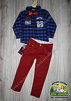 Стильный комплект: клетчатая рубашка и бордовые брюки для мальчика , фото 1