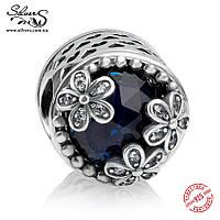 """Серебряная подвеска шарм Пандора (Pandora) """"Луг маргариток. Синий"""" для браслета бусина"""