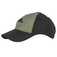Тактическая бейсболка Helikon-Tex® Logo Cap - PolyCotton Ripstop - Черная/Олива