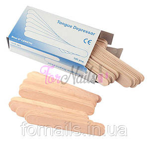 Шпатель деревянный, одноразовый 15х1,7 см, 100 шт.