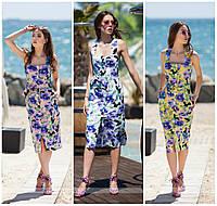 Модное женское платье-халат принт цветы норма / Украина / коттон
