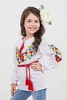 Вышиванка для девочки с маками, ромашками и васильками